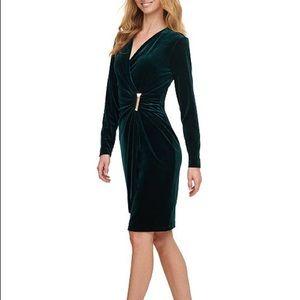 Calvin Klein Velvet Ruched Side-Bar Dress